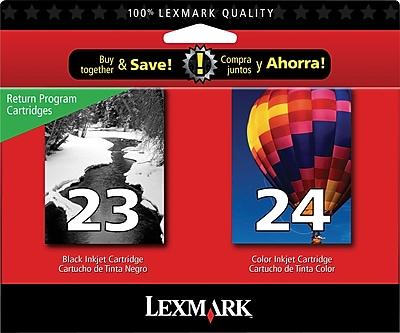Lexmark 23/24 Black and Color Ink Cartridges (18C1571), 2/Pack