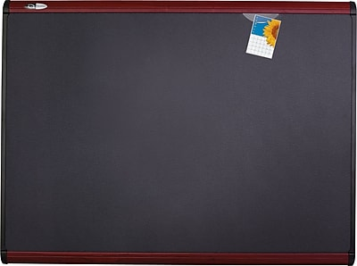 Quartet® Prestige Plus® Magnetic Fabric Bulletin Board, 4' x 3', Mahogany Frame