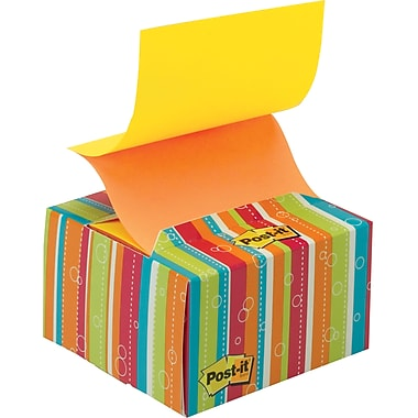 Post-it® 3in. x 3in. Pop-up Notes with Neon Stripes Desk Grip Dispenser, Each