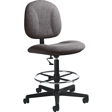 Global Swivel Fabric Drafting Chair, Armless, Gray