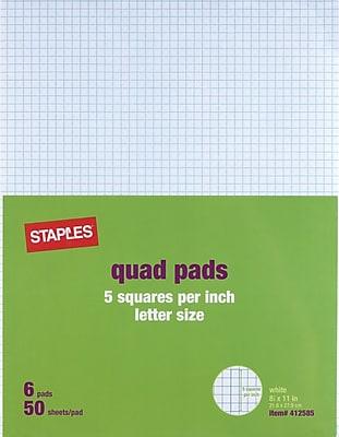 Staples® 5 x 5 Graph Pads, 8-1/2
