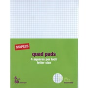 "Staples 4 x 4 Graph Pads, 8-1/2"" x 11"", 6/Pack (18606STP)"