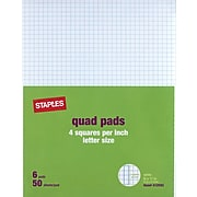 """Staples® Quadrille Graph Pads, 50 Sheets, 4 Squares Per Inch, White, 8 1/2""""H x 11""""W, 36/Ct"""