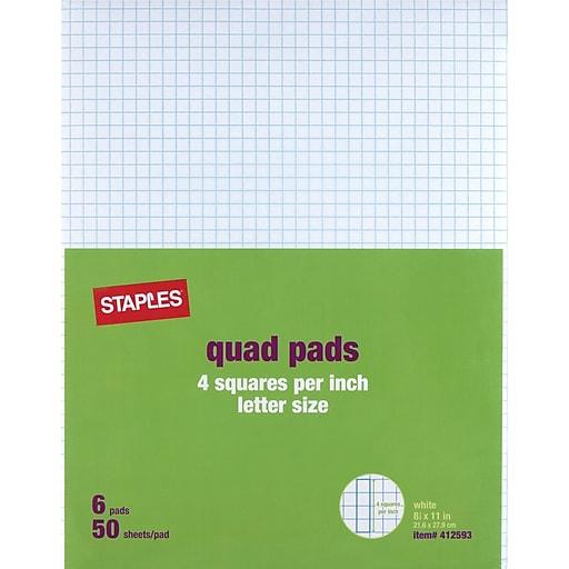 staples 4 x 4 graph pads 8 1 2 x 11 6 pack 18606stp staples
