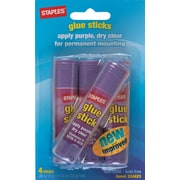 Staples Washable Glue Sticks, Purple, .26 oz., 4/Pack (10446)