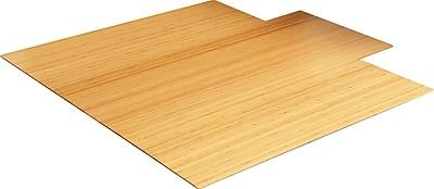 Anji Mountain Roll-Up 56.4''x55.25'' Bamboo Chair Mat for Carpet, Rectangular w/Lip, Natural (AMB24008)