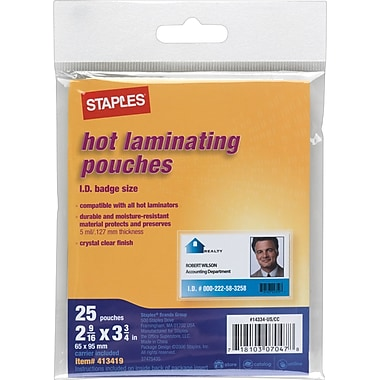 Staples ID Tag Size Thermal Laminating Pouches, 5mil, 25/Pack (3202004)