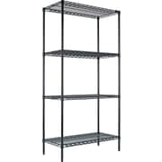 "Alera Industrial Wire Shelving, 4 Shelves, Black Anthracite, 72""H x 36""W x 18""D"