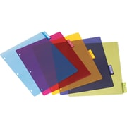 Cardinal 3-Hole Punched Poly Binder Divider, Assorted Colors, 5 Dividers/Set