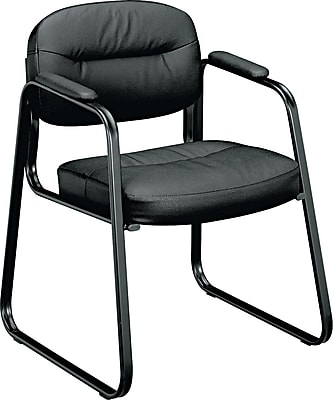 //.staples-3p.com/s7/is/  sc 1 st  Staples & basyx by HON VL653 Sled Base Guest Chair Black Thread Leather ...