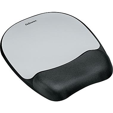 Fellowes Memory Foam Mouse Pad/Wrist Rest, Silver