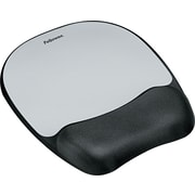 Fellowes® Memory Foam Mouse Pad/Wristrests, Silver Streak