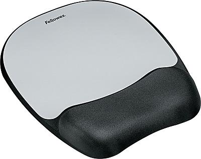 Fellowes® Memory Foam Mouse Pad/Wristrests, Silver Streak