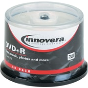 Innovera DVD+R Recordable Discs on Spindle, 4.7GB, 120 Minute, Silver, 50/Pk