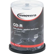Innovera CD-R Recordable Discs, 52x, 700MB/80 Minute, Matte White, 100/Pk