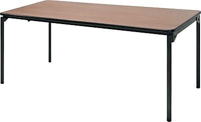 Samsonite 6' Commercial-Grade Resin Folding Banquet Table, Natural Wood Grain