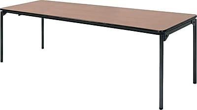 Samsonite 8 Commercial Grade Resin Folding Banquet Table Natural Wood Grain Staples