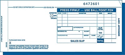TOPS® Credit Card Sales Receipt, Ruled, 3-Part, White, 7 7/8