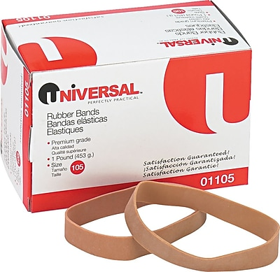 """""Universal Boxed Rubber Bands, Size 105, 5"""""""" x 5/8"""""""", 1 lb. Box"""""" 806627"