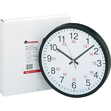 Universal 24-Hour Round Wall Clock, Black Case, 12 1/2
