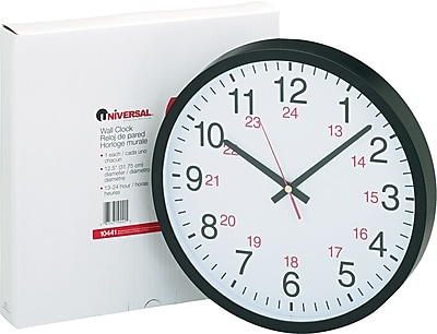 Universal 24-Hour Round Wall Clock, Black Case, 12 1/2