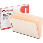 "Universal© End Tab Classification Folders, 6 Parts/2 Partitions, Manila, Legal, Holds 8 1/2""H x 14""W, 10/Bx"