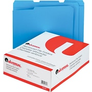 "Universal© Top Tab File Folders, Blue, Letter, Holds 8 1/2""H x 11""W, 100/Bx"