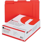 "Universal© Top Tab File Folders, Red, Letter, Holds 8 1/2""H x 11""W, 100/Bx"
