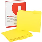 "Universal© Top Tab File Folders, Yellow, Letter, Holds 8 1/2""H x 11""W, 100/Bx"