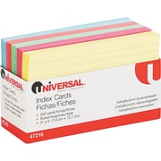 """Universal® Index Cards, Ruled, Assorted Colors, 3""""H x 5""""W, 100/Pk"""