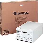 """Universal Economy Storage File with Lid, Legal Size, White, Stacking Strength 700 lbs., 15"""" x 10"""" x 24"""", 12/Ct"""