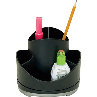 Storex Iceland Rotary Desk Organizer, Black with Silver Accents