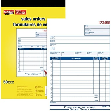 Staples® Bilingual Sales Order Form, SDC52B, Duplicates, Carbonless, Staple Bound, 5