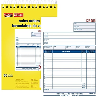 Staples® – Bon de commande bilingue, SDC52SB, duplicatas, autocopiants, reliu
