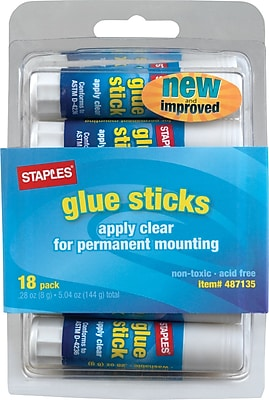 Staples Washable Glue Sticks, Clear, .26 oz., 18/Pack (10449)