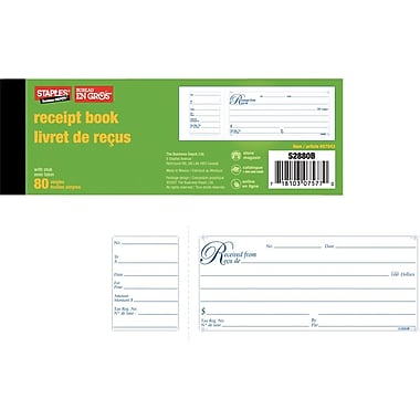 Staples® Receipt Book, Receipts with Stubs, 2-3/4