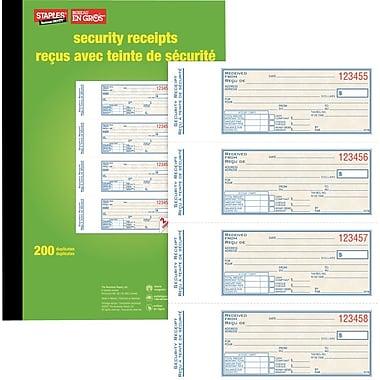 Staples® – Livrets de reçus de sécurité, bilingues