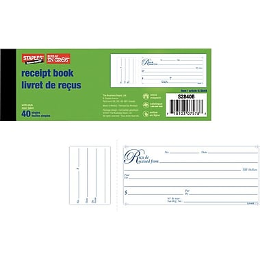Staples® Bilingual Receipt Book, S2840B, Receipts with Stubs, Single, 2