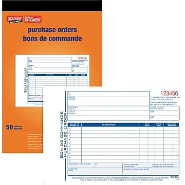 Staples® Bilingual Purchase Order Form, STC53B, Triplicates, Carbonless, Staple Bound, 5-9/16