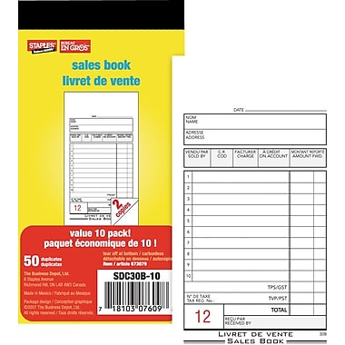 Staples® Bilingual Sales Book, SDC30B-10, Duplicates, Carbonless, 3