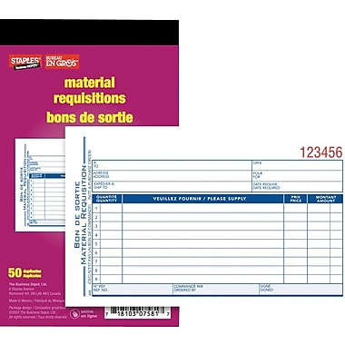 Staples® Requisition Forms, Bilingual