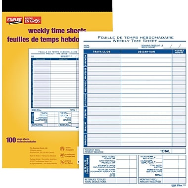 Staples® – Feuilles de temps, bilingue