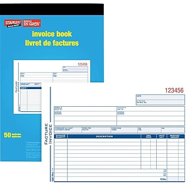 Staples® – Livret de facturation bilingue, SDC51B, duplicatas, autocopiants,