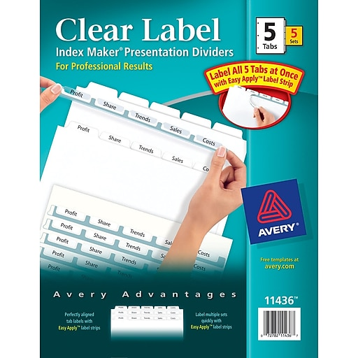 Avery Index Maker Clear Label Tab Dividers 5 Tab White 1 Set