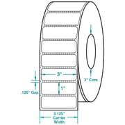 3 x 1 Perfed White Permanent Adhesive Thermal Transfer Roll Zebra Compatible Label/Ribbon Kit