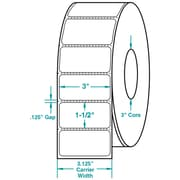 3 x 1-1/2 Perfed White Permanent Adhesive Thermal Transfer Roll Zebra Compatible Label/Ribbon Kit