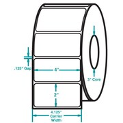 4 x 2 White Permanent Adhesive Thermal Transfer Roll Zebra Compatible Label/Ribbon Kit