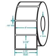 4 x 2-1/2 White Permanent Adhesive Thermal Transfer Roll Zebra Compatible Label/Ribbon Kit