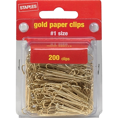 Staples® Gold Paper Clips, Smooth