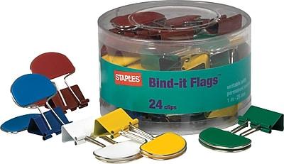 Staples® Medium Bind-it Flags™Binder Clips, 1 1/4